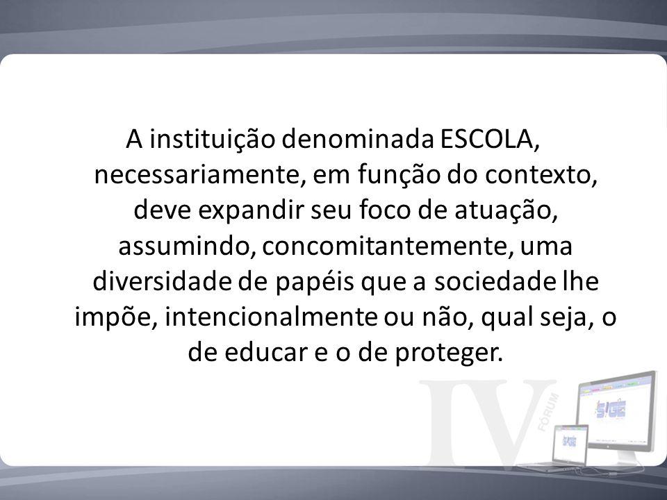 A instituição denominada ESCOLA, necessariamente, em função do contexto, deve expandir seu foco de atuação, assumindo, concomitantemente, uma diversid