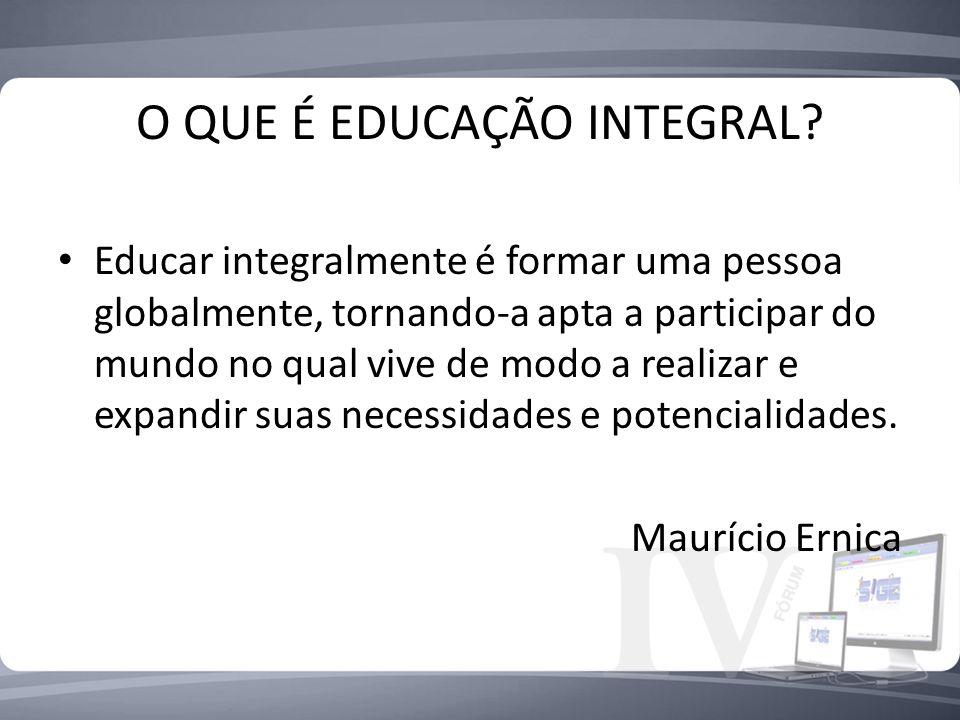 O QUE É EDUCAÇÃO INTEGRAL? Educar integralmente é formar uma pessoa globalmente, tornando-a apta a participar do mundo no qual vive de modo a realizar