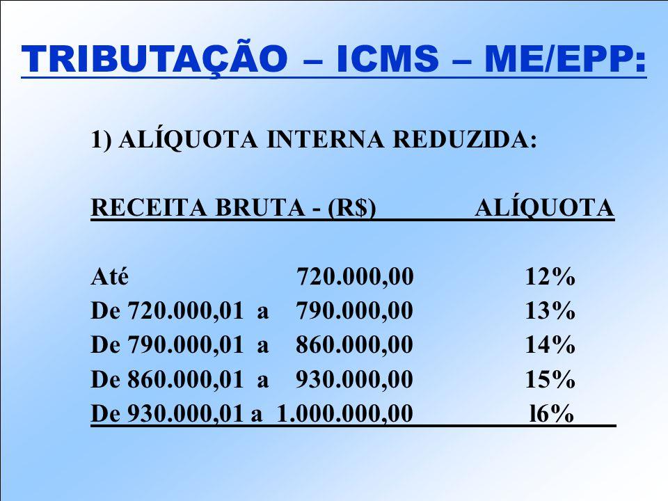 1) ALÍQUOTA INTERNA REDUZIDA: RECEITA BRUTA - (R$) ALÍQUOTA Até 720.000,0012% De 720.000,01 a 790.000,0013% De 790.000,01 a 860.000,0014% De 860.000,01 a 930.000,0015% De 930.000,01 a 1.000.000,00 l6%___ TRIBUTAÇÃO – ICMS – ME/EPP: