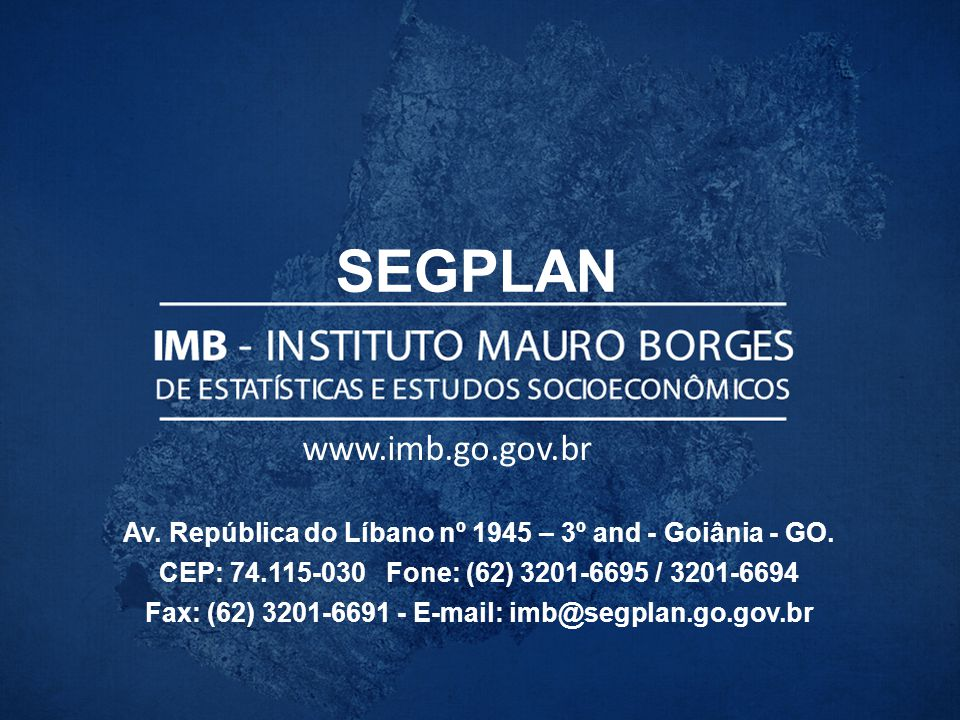 Av. República do Líbano nº 1945 – 3º and - Goiânia - GO. CEP: 74.115-030 Fone: (62) 3201-6695 / 3201-6694 Fax: (62) 3201-6691 - E-mail: imb@segplan.go