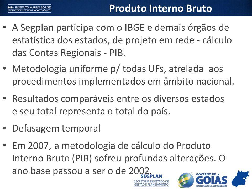 A Segplan participa com o IBGE e demais órgãos de estatística dos estados, de projeto em rede - cálculo das Contas Regionais - PIB. Metodologia unifor