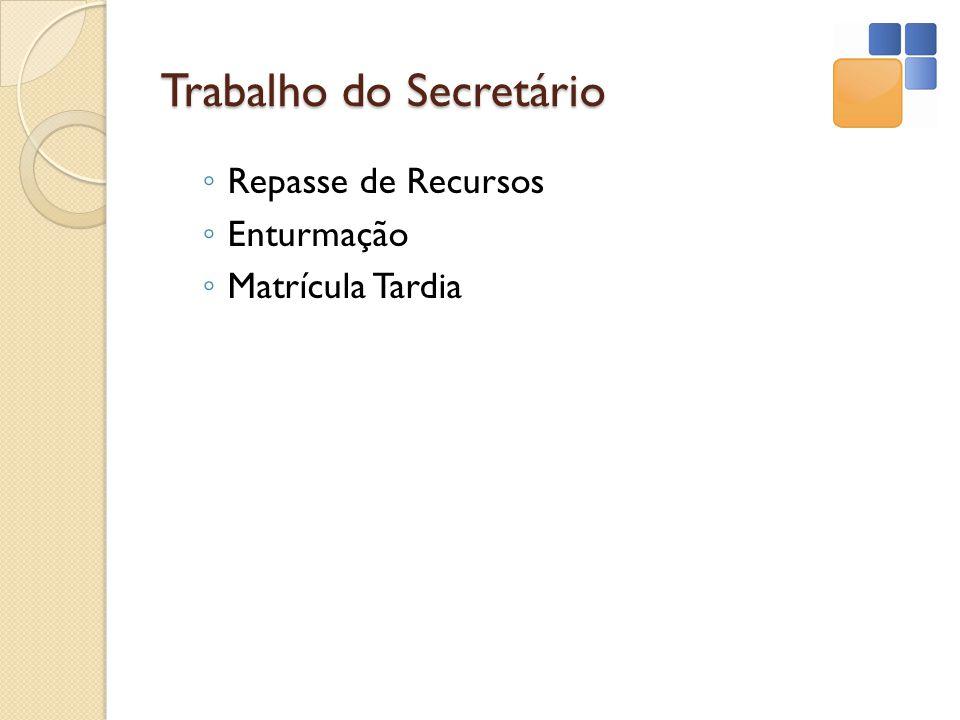 Trabalho do Secretário Repasse de Recursos Enturmação Matrícula Tardia