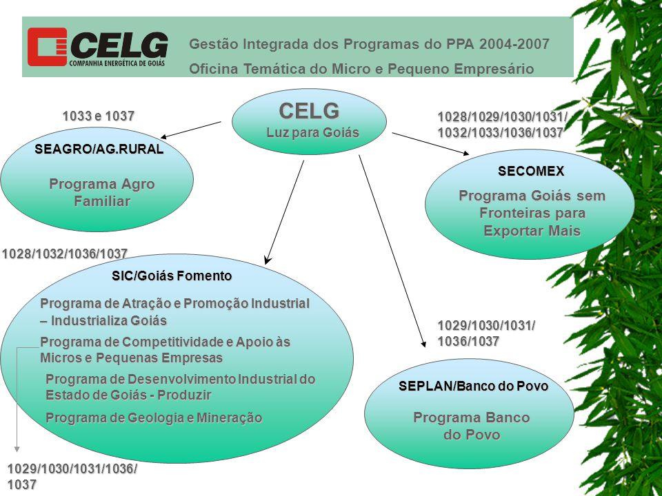 Gestão Integrada dos Programas do PPA 2004-2007 Oficina Temática do Micro e Pequeno Empresário SEAGRO/AG.RURAL Programa Agro Familiar Programa de Atração e Promoção Industrial – Industrializa Goiás 1033 e 1037 Programa Banco do Povo SEPLAN/Banco do Povo SECOMEX Programa Goiás sem Fronteiras para Exportar Mais SIC/Goiás Fomento 1028/1029/1030/1031/ 1032/1033/1036/1037 1029/1030/1031/ 1036/1037 1028/1032/1036/1037 Programa de Competitividade e Apoio às Micros e Pequenas Empresas Programa de Desenvolvimento Industrial do Estado de Goiás - Produzir Programa de Geologia e Mineração 1029/1030/1031/1036/ 1037 CELG Luz para Goiás