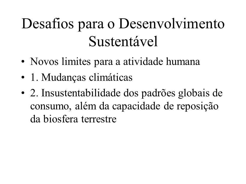 Desafios para o Desenvolvimento Sustentável Novos limites para a atividade humana 1.