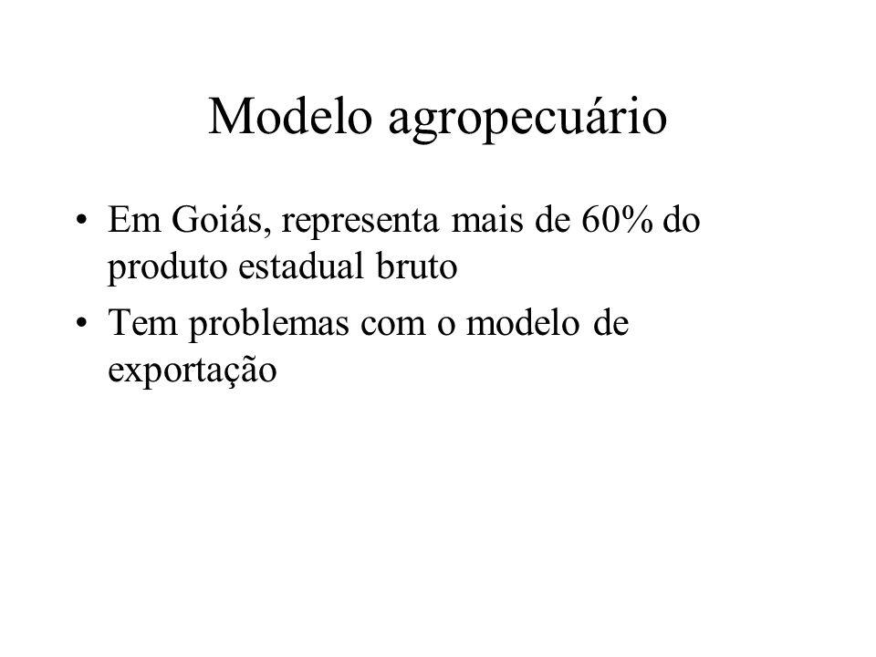 Modelo agropecuário Em Goiás, representa mais de 60% do produto estadual bruto Tem problemas com o modelo de exportação