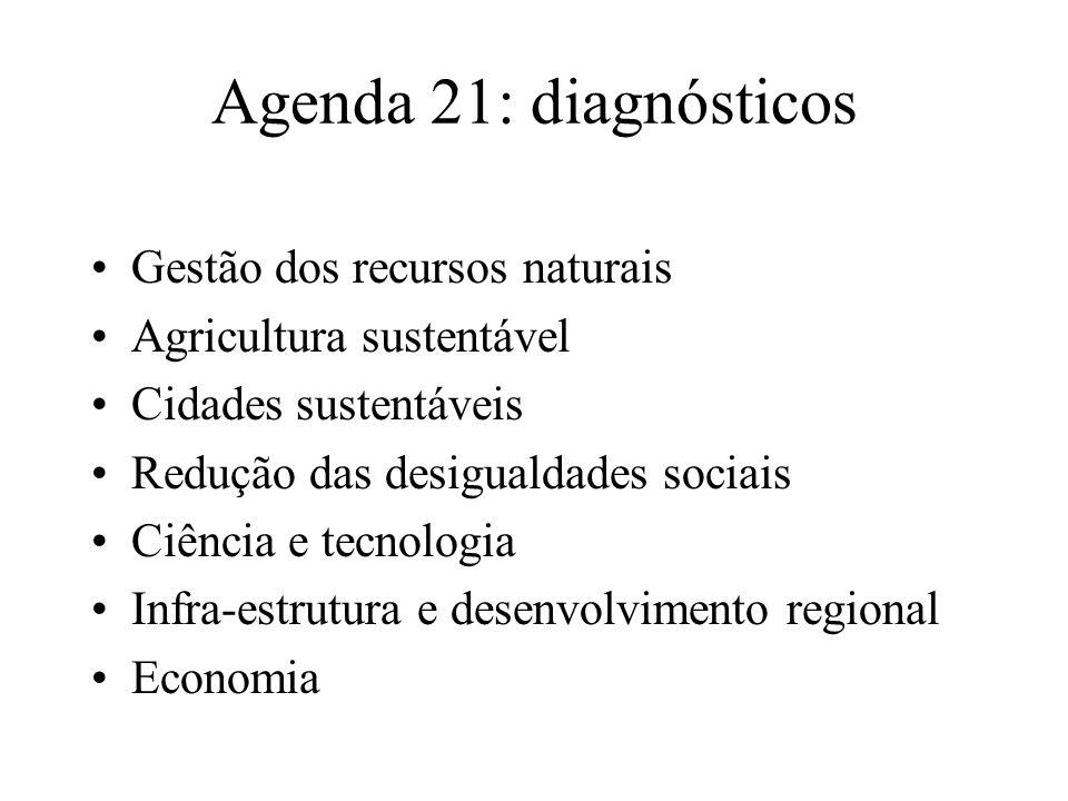 Agenda 21: diagnósticos Gestão dos recursos naturais Agricultura sustentável Cidades sustentáveis Redução das desigualdades sociais Ciência e tecnologia Infra-estrutura e desenvolvimento regional Economia