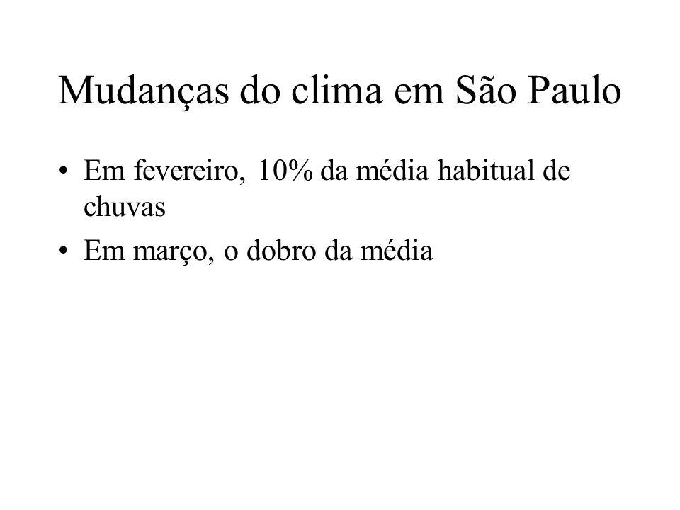 Mudanças do clima em São Paulo Em fevereiro, 10% da média habitual de chuvas Em março, o dobro da média