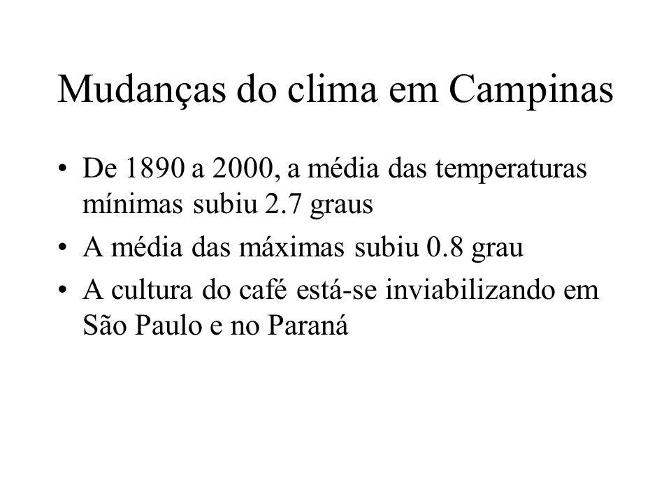 Mudanças do clima em Campinas De 1890 a 2000, a média das temperaturas mínimas subiu 2.7 graus A média das máximas subiu 0.8 grau A cultura do café está-se inviabilizando em São Paulo e no Paraná