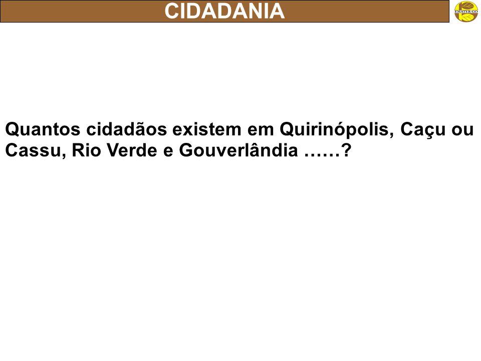 CIDADANIA Quantos cidadãos existem em Quirinópolis, Caçu ou Cassu, Rio Verde e Gouverlândia ……?
