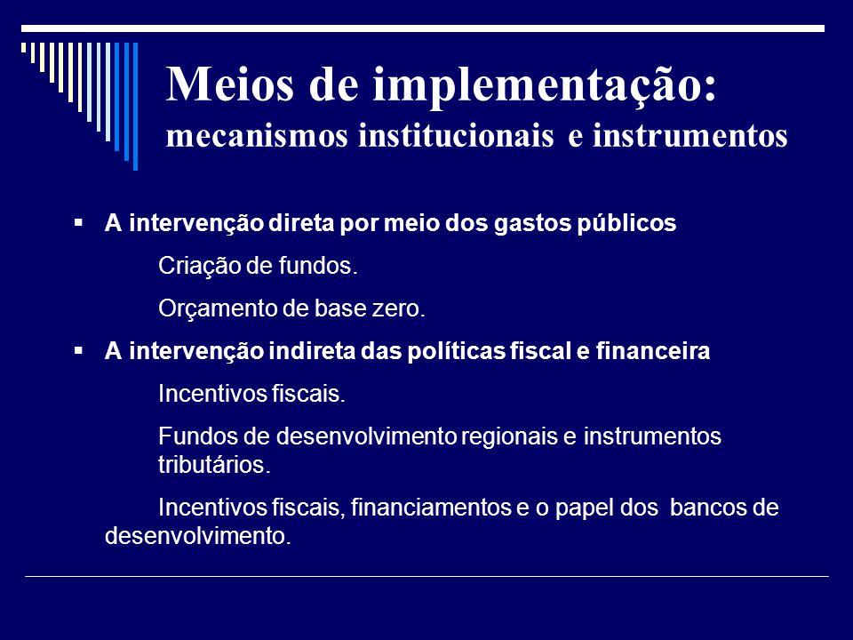 Meios de implementação: mecanismos institucionais e instrumentos A intervenção direta por meio dos gastos públicos Criação de fundos. Orçamento de bas