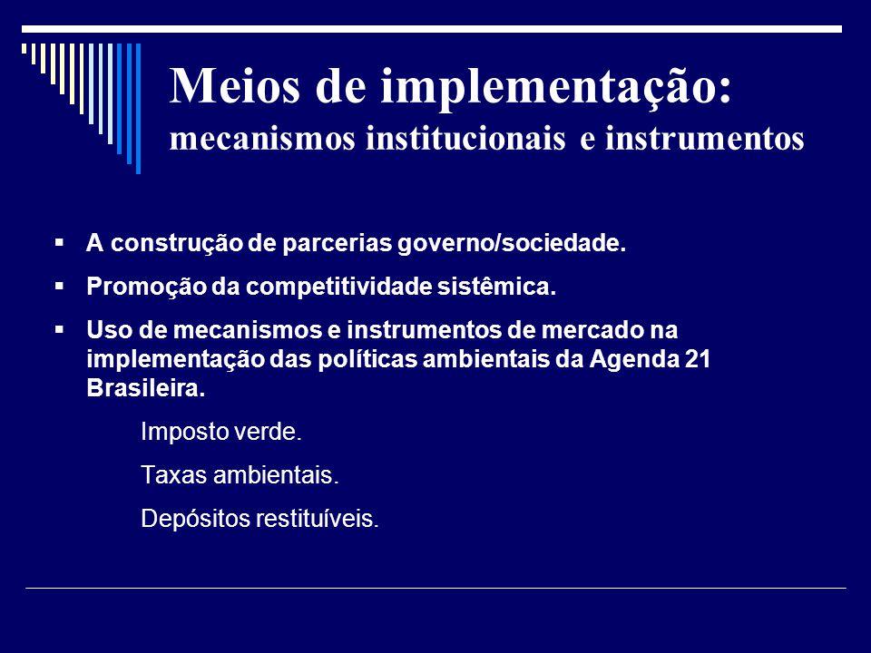 Meios de implementação: mecanismos institucionais e instrumentos A construção de parcerias governo/sociedade. Promoção da competitividade sistêmica. U