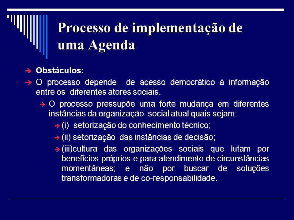 Processo de implementação de uma Agenda Obstáculos: O processo depende de acesso democrático á informação entre os diferentes atores sociais. O proces