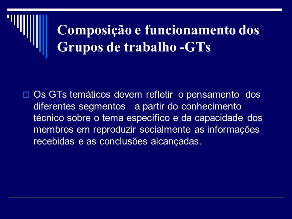 Composição e funcionamento dos Grupos de trabalho -GTs Os GTs temáticos devem refletir o pensamento dos diferentes segmentos a partir do conhecimento