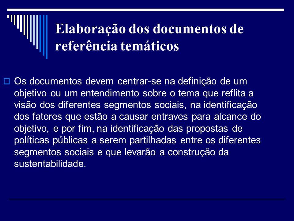Elaboração dos documentos de referência temáticos Os documentos devem centrar-se na definição de um objetivo ou um entendimento sobre o tema que refli