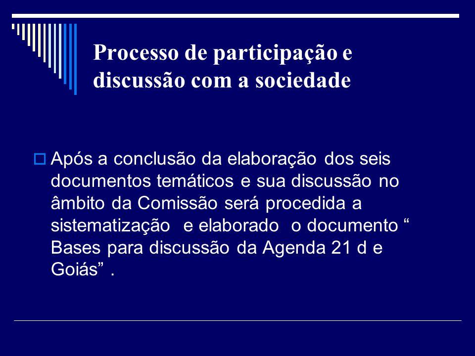 Processo de participação e discussão com a sociedade Após a conclusão da elaboração dos seis documentos temáticos e sua discussão no âmbito da Comissã