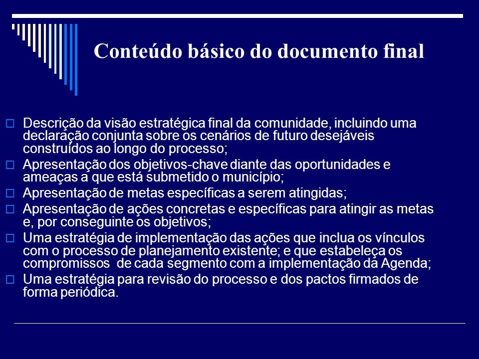 Conteúdo básico do documento final Descrição da visão estratégica final da comunidade, incluindo uma declaração conjunta sobre os cenários de futuro d