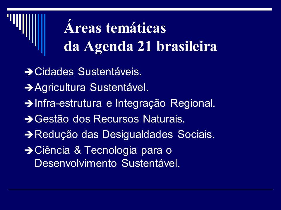Áreas temáticas da Agenda 21 brasileira Cidades Sustentáveis. Agricultura Sustentável. Infra-estrutura e Integração Regional. Gestão dos Recursos Natu