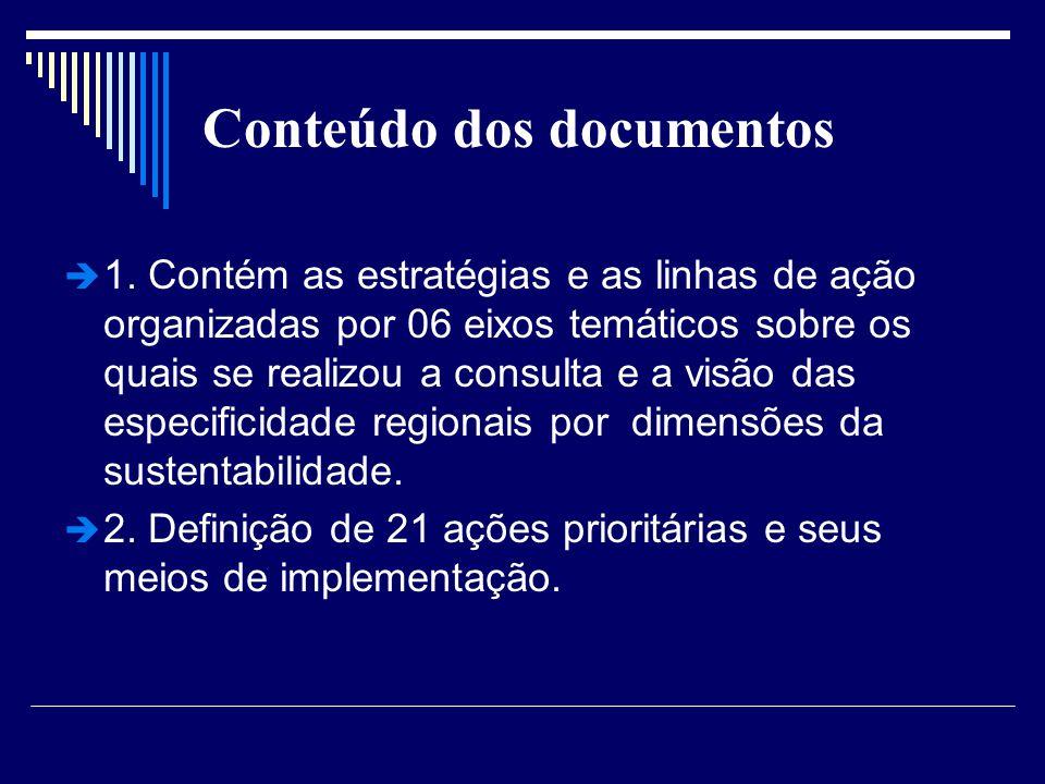 Conteúdo dos documentos 1. Contém as estratégias e as linhas de ação organizadas por 06 eixos temáticos sobre os quais se realizou a consulta e a visã