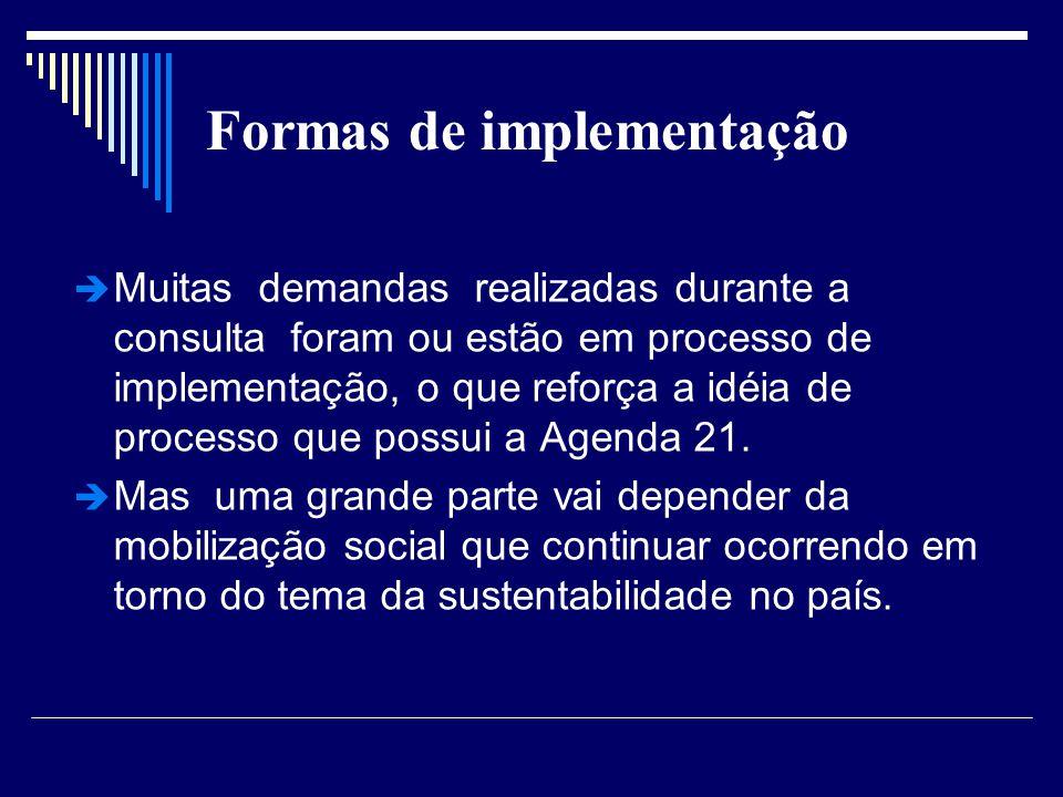 Formas de implementação Muitas demandas realizadas durante a consulta foram ou estão em processo de implementação, o que reforça a idéia de processo q