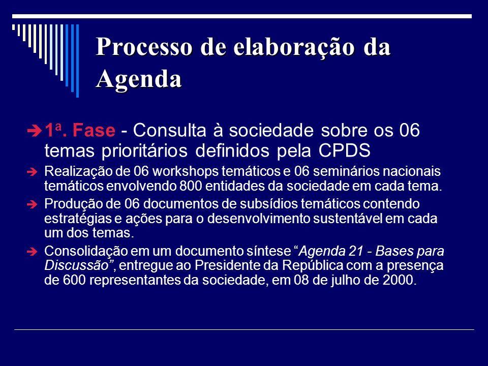 Processo de elaboração da Agenda 1 a. Fase - Consulta à sociedade sobre os 06 temas prioritários definidos pela CPDS Realização de 06 workshops temáti