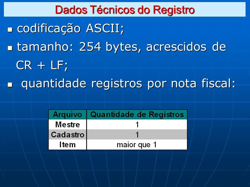 codificação ASCII; codificação ASCII; tamanho: 254 bytes, acrescidos de tamanho: 254 bytes, acrescidos de CR + LF; CR + LF; quantidade registros por nota fiscal: quantidade registros por nota fiscal: Dados Técnicos do Registro