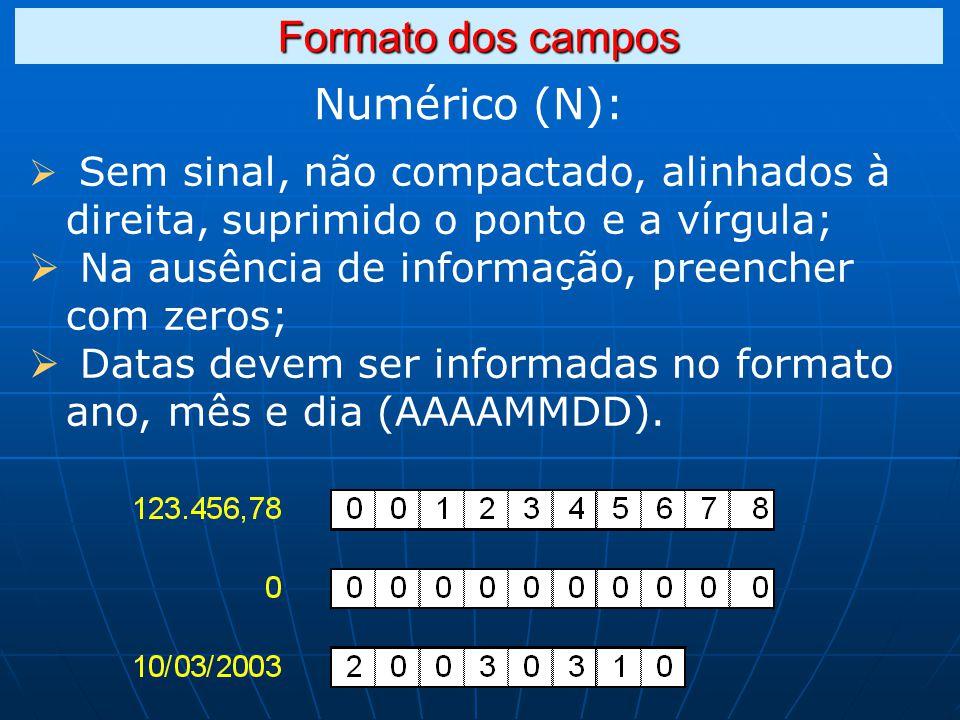 Numérico (N): Formato dos campos Sem sinal, não compactado, alinhados à direita, suprimido o ponto e a vírgula; Na ausência de informação, preencher com zeros; Datas devem ser informadas no formato ano, mês e dia (AAAAMMDD).