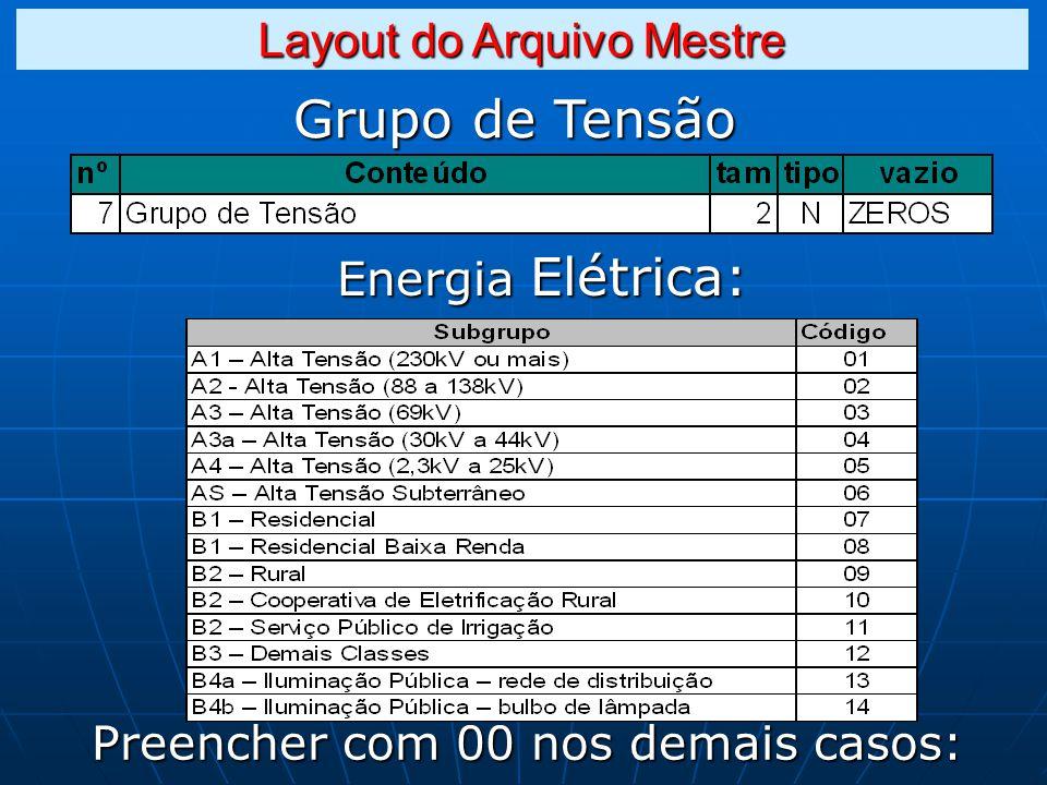 Grupo de Tensão Energia Elétrica: Preencher com 00 nos demais casos: Layout do Arquivo Mestre
