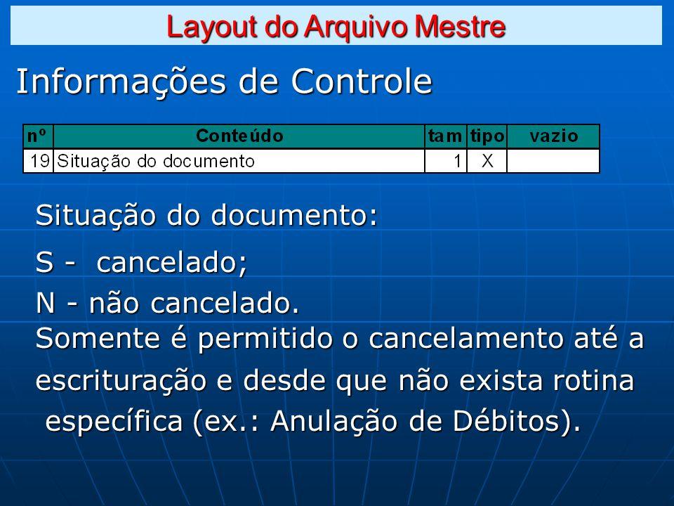 Informações de Controle Situação do documento: S - cancelado; N - não cancelado.