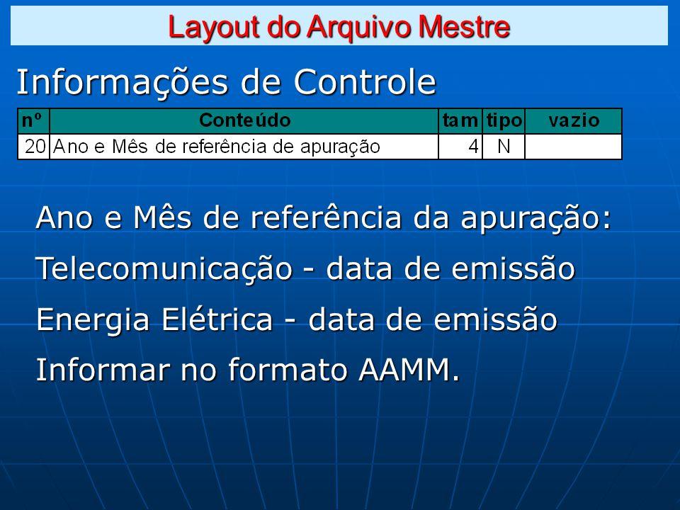 Informações de Controle Ano e Mês de referência da apuração: Telecomunicação - data de emissão Energia Elétrica - data de emissão Informar no formato AAMM.