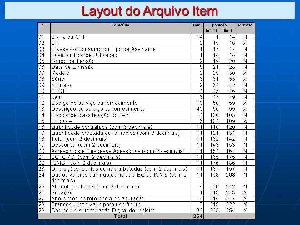Layout do Arquivo Item
