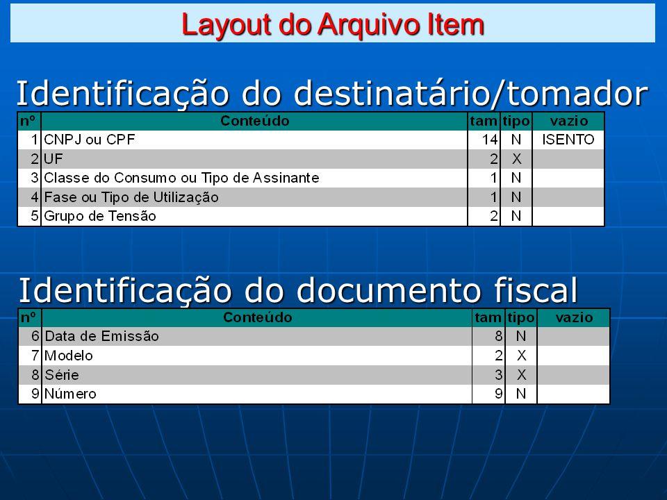 Identificação do destinatário/tomador Identificação do documento fiscal Layout do Arquivo Item