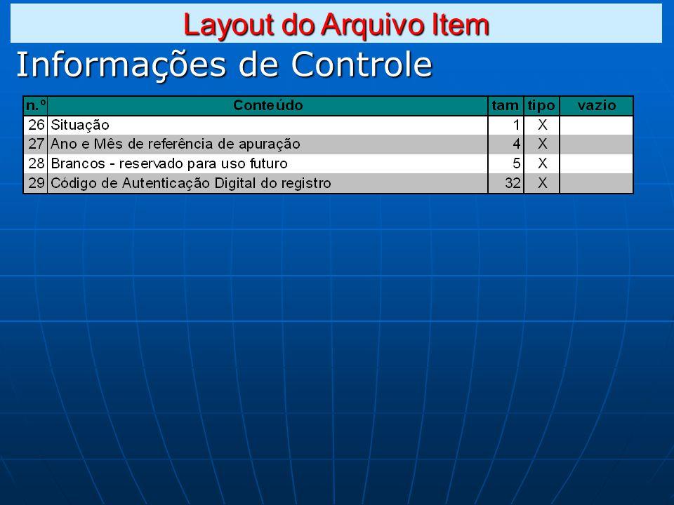 Informações de Controle Layout do Arquivo Item