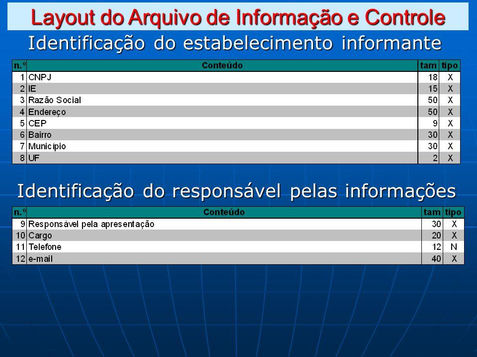 Identificação do estabelecimento informante Identificação do responsável pelas informações Layout do Arquivo de Informação e Controle