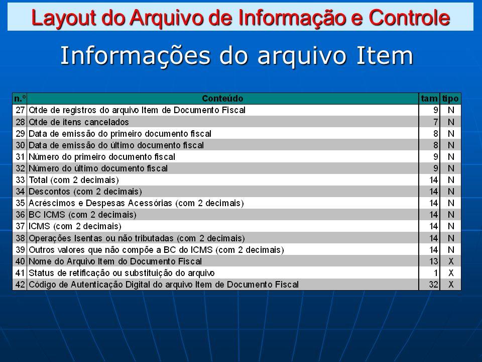 Informações do arquivo Item Layout do Arquivo de Informação e Controle