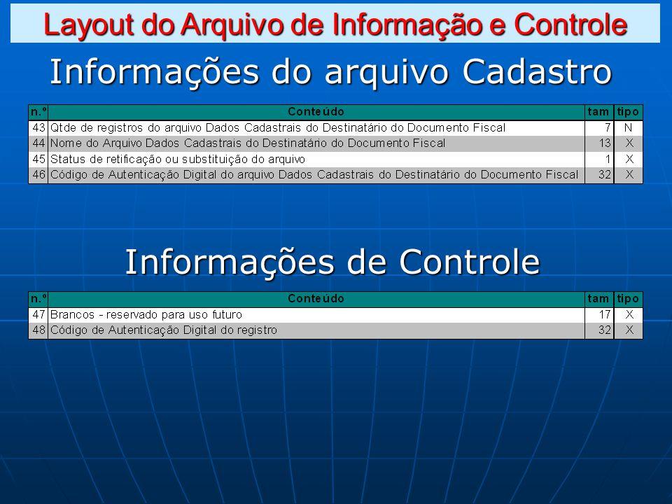 Informações do arquivo Cadastro Informações de Controle Layout do Arquivo de Informação e Controle
