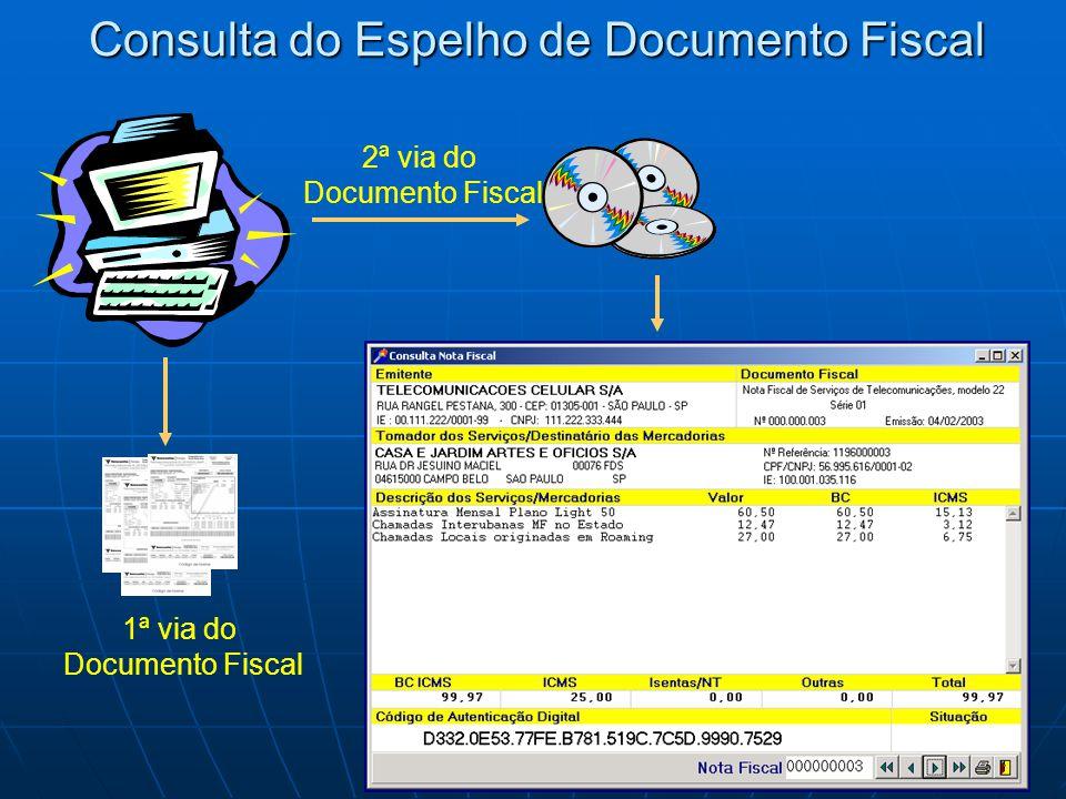 Consulta do Espelho de Documento Fiscal 2ª via do Documento Fiscal 1ª via do Documento Fiscal