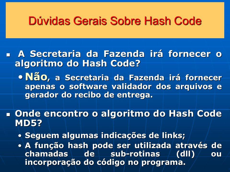 Dúvidas Gerais Sobre Hash Code A Secretaria da Fazenda irá fornecer o algoritmo do Hash Code.