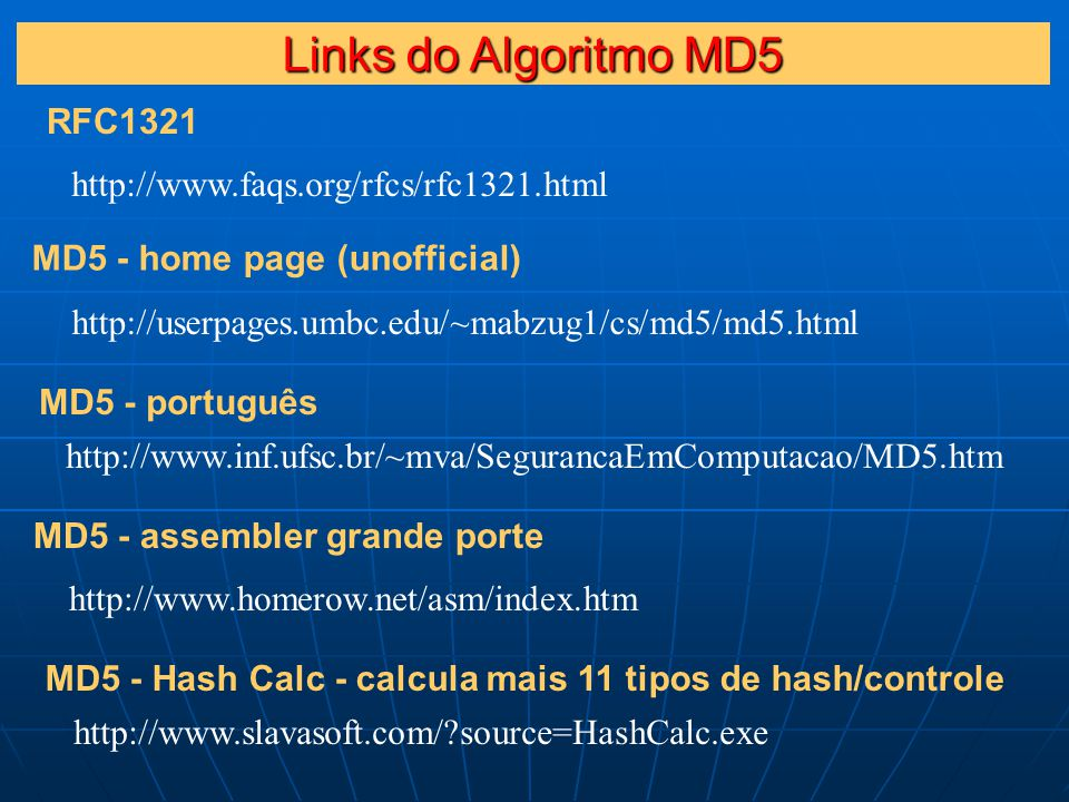 http://www.faqs.org/rfcs/rfc1321.html http://userpages.umbc.edu/~mabzug1/cs/md5/md5.html RFC1321 MD5 - home page (unofficial) http://www.inf.ufsc.br/~