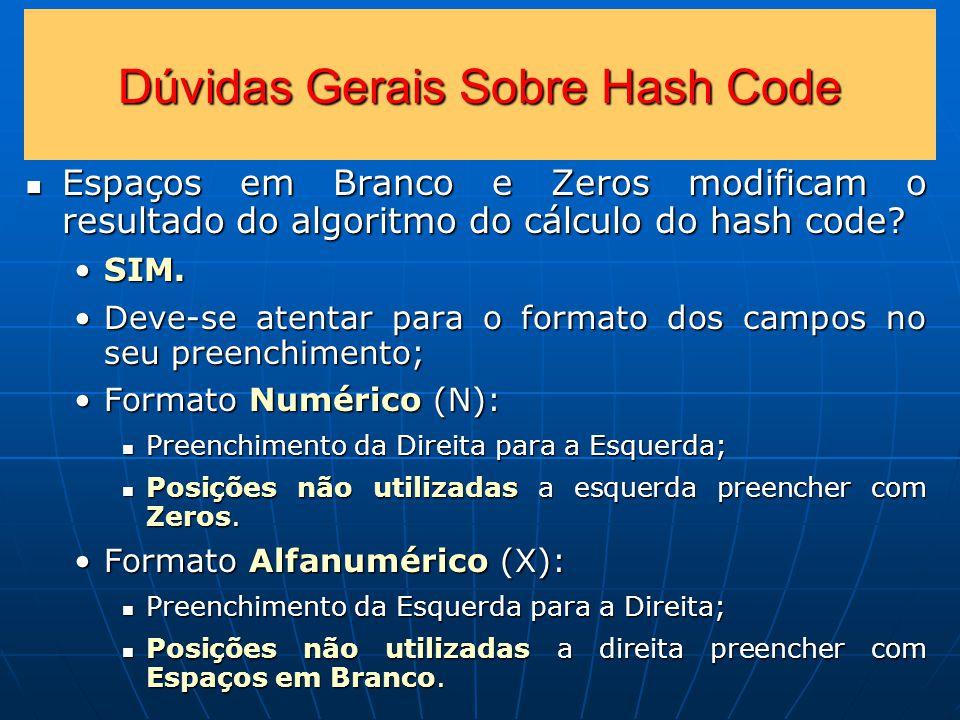 Dúvidas Gerais Sobre Hash Code Espaços em Branco e Zeros modificam o resultado do algoritmo do cálculo do hash code.
