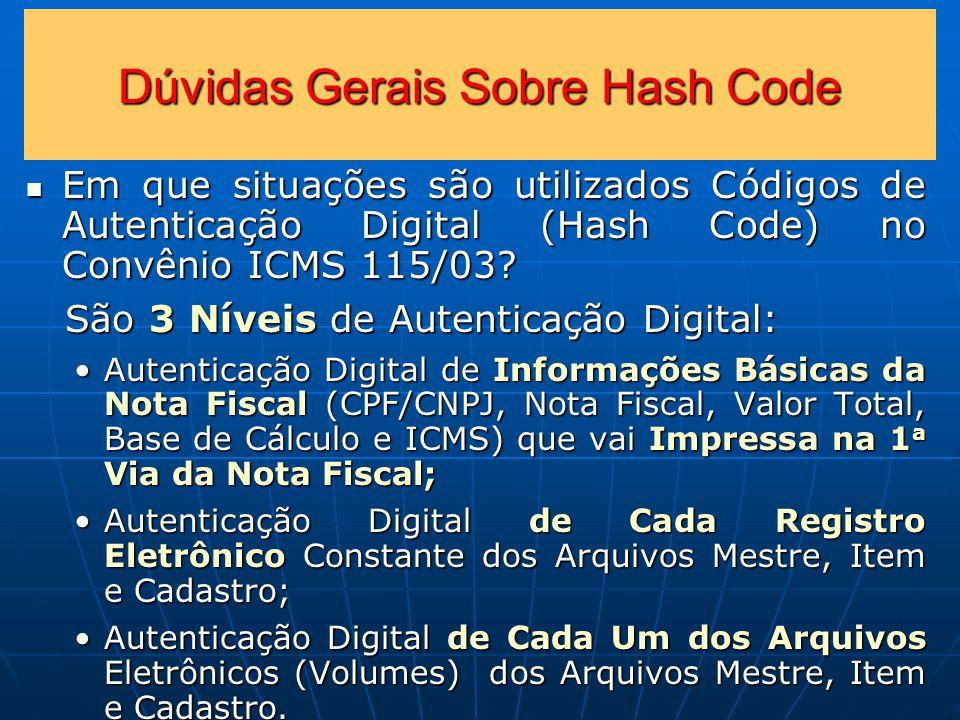 Dúvidas Gerais Sobre Hash Code Em que situações são utilizados Códigos de Autenticação Digital (Hash Code) no Convênio ICMS 115/03.