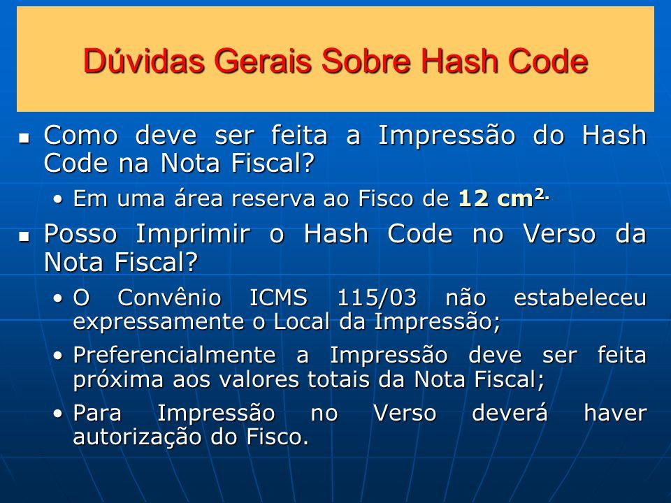 Dúvidas Gerais Sobre Hash Code Como deve ser feita a Impressão do Hash Code na Nota Fiscal.