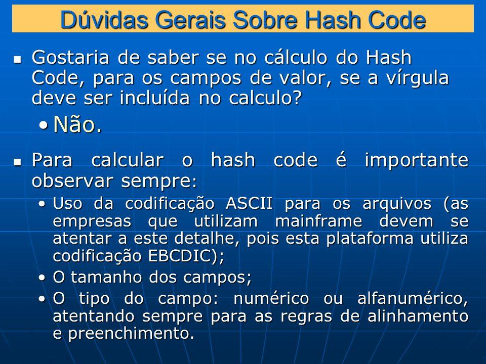 Dúvidas Gerais Sobre Hash Code Gostaria de saber se no cálculo do Hash Code, para os campos de valor, se a vírgula deve ser incluída no calculo.