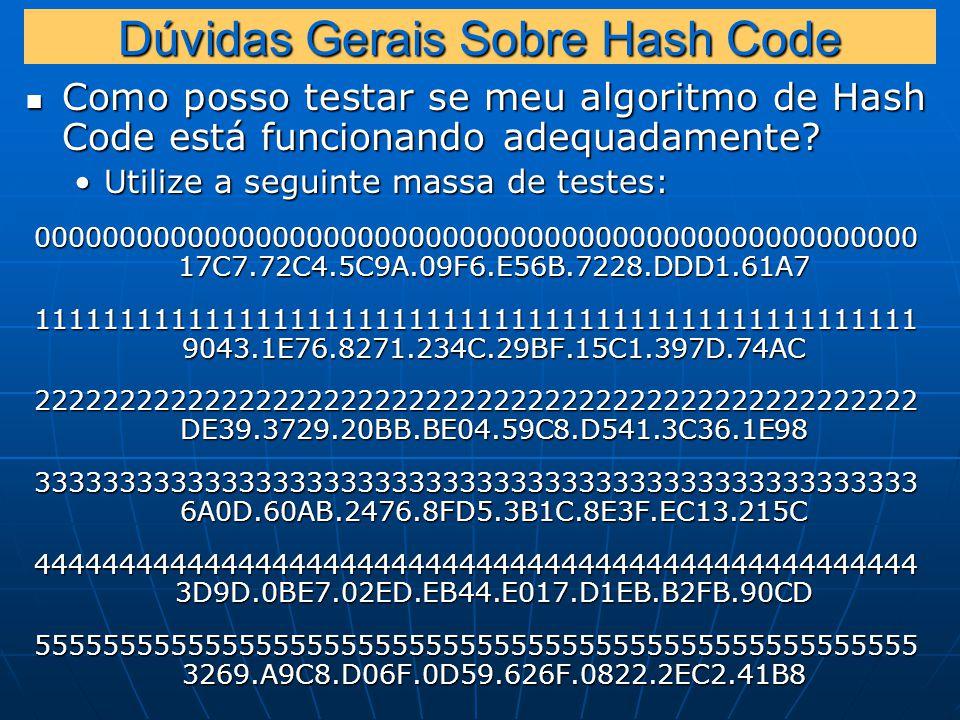 Dúvidas Gerais Sobre Hash Code Como posso testar se meu algoritmo de Hash Code está funcionando adequadamente.
