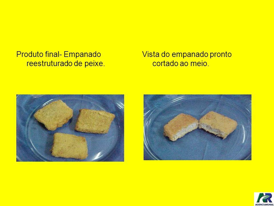 Produto final- Empanado reestruturado de peixe. Vista do empanado pronto cortado ao meio.