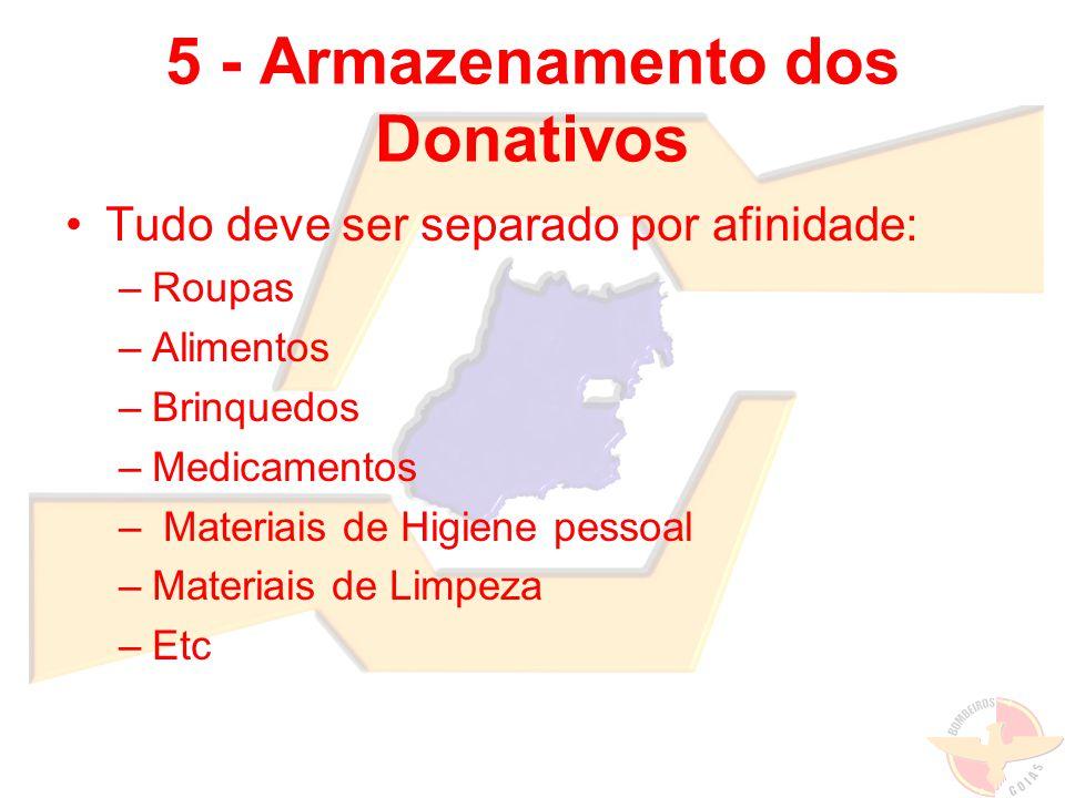 5 - Armazenamento dos Donativos Tudo deve ser separado por afinidade: –Roupas –Alimentos –Brinquedos –Medicamentos – Materiais de Higiene pessoal –Mat