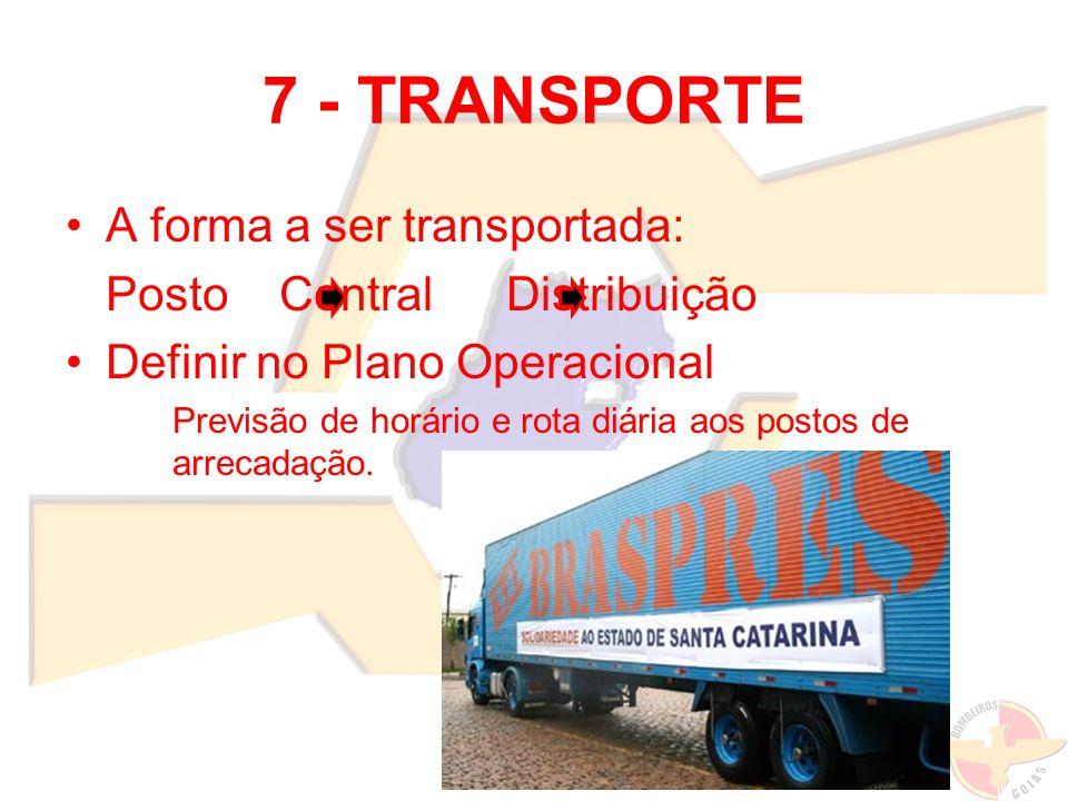 7 - TRANSPORTE A forma a ser transportada: Posto Central Distribuição Definir no Plano Operacional Previsão de horário e rota diária aos postos de arr