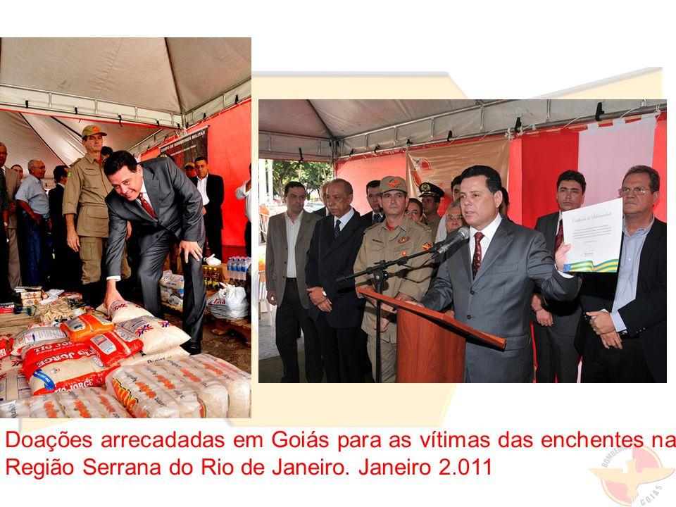 Doações arrecadadas em Goiás para as vítimas das enchentes na Região Serrana do Rio de Janeiro. Janeiro 2.011