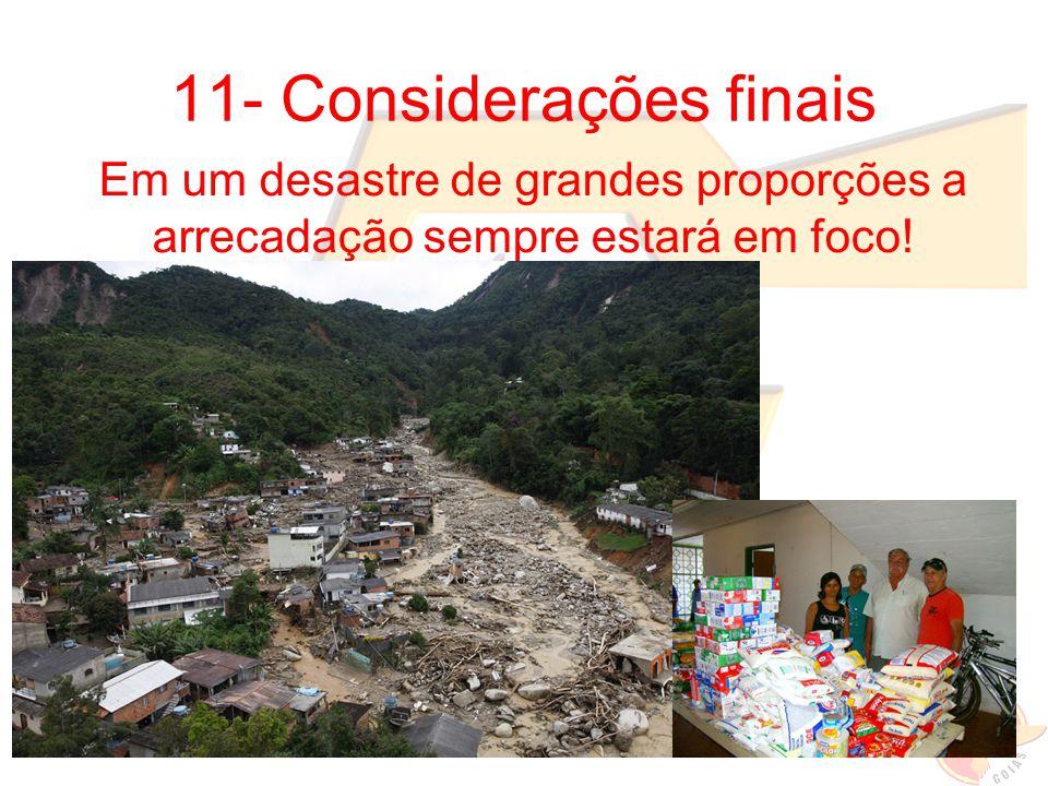 11- Considerações finais Em um desastre de grandes proporções a arrecadação sempre estará em foco!