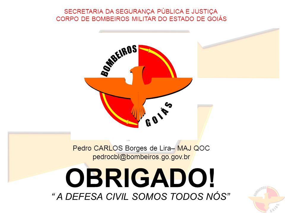 OBRIGADO! A DEFESA CIVIL SOMOS TODOS NÓS Pedro CARLOS Borges de Lira– MAJ QOC pedrocbl@bombeiros.go.gov.br SECRETARIA DA SEGURANÇA PÚBLICA E JUSTIÇA C