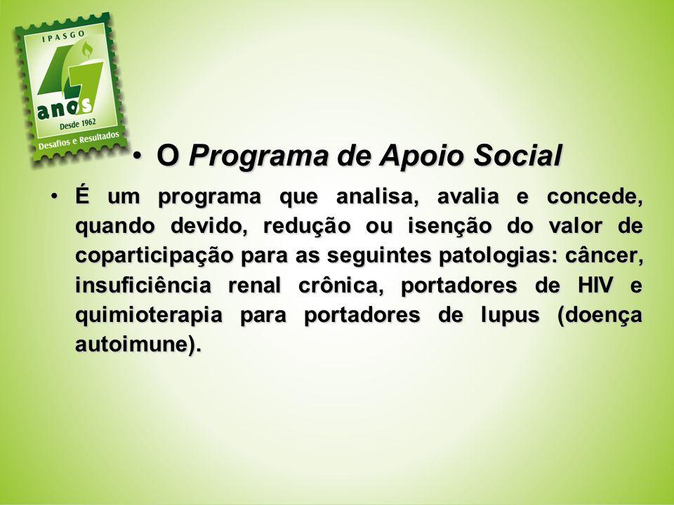 O Programa de Apoio SocialO Programa de Apoio Social É um programa que analisa, avalia e concede, quando devido, redução ou isenção do valor de copart